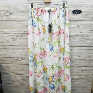 Tommy Bahama White Parrot and Floral Maxi Skirt